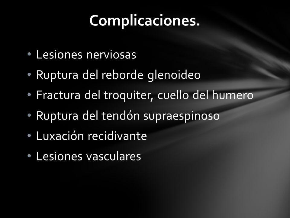Complicaciones. Lesiones nerviosas Ruptura del reborde glenoideo
