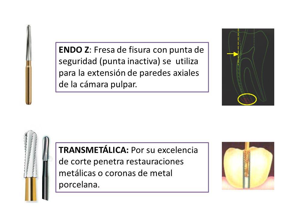 ENDO Z: Fresa de fisura con punta de seguridad (punta inactiva) se utiliza para la extensión de paredes axiales de la cámara pulpar.