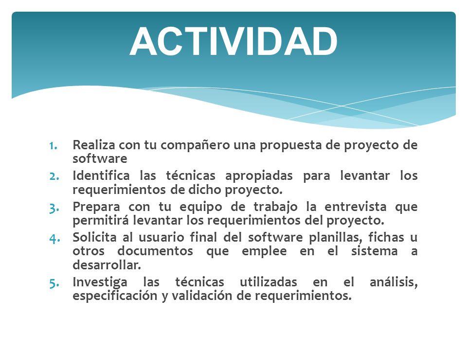 ACTIVIDAD Realiza con tu compañero una propuesta de proyecto de software.