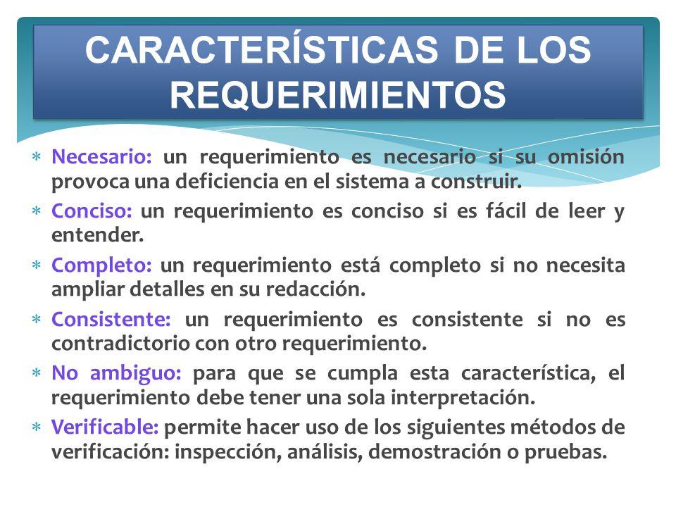 CARACTERÍSTICAS DE LOS REQUERIMIENTOS
