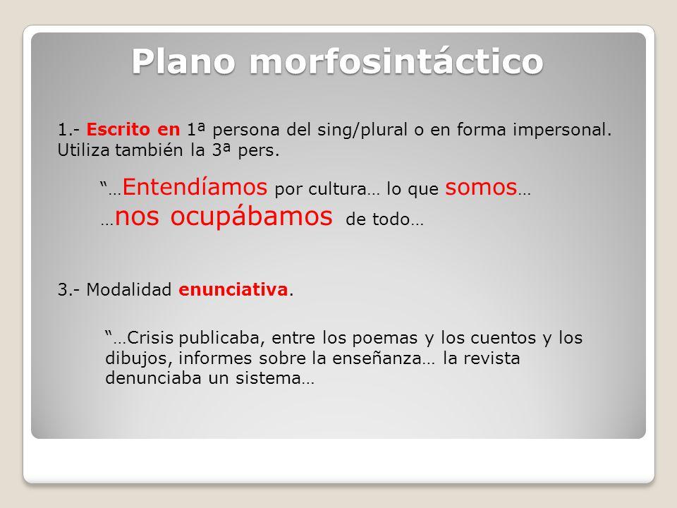 Plano morfosintáctico