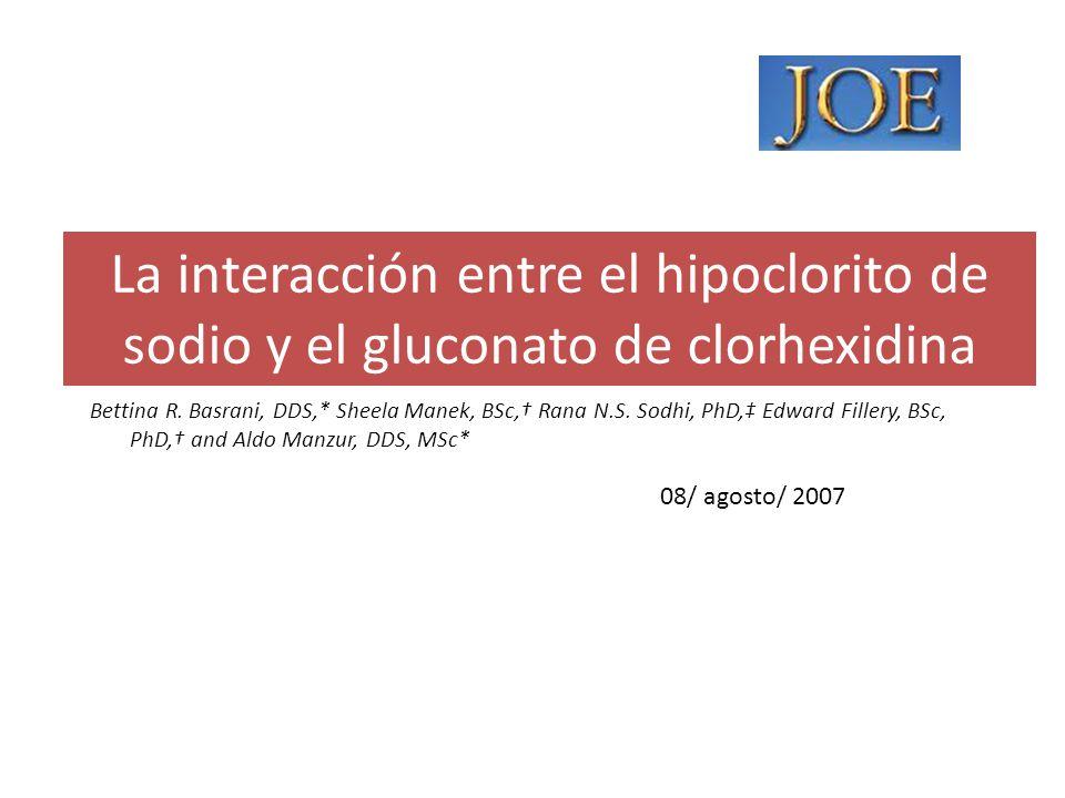 La interacción entre el hipoclorito de sodio y el gluconato de clorhexidina