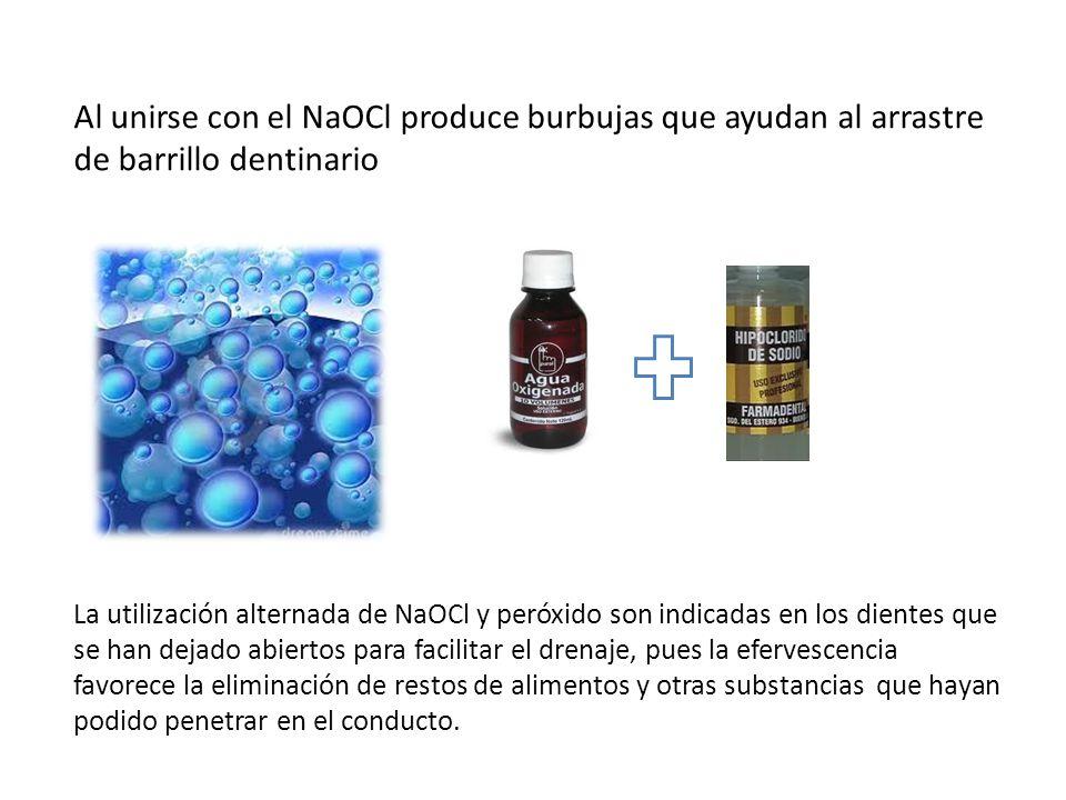 Al unirse con el NaOCl produce burbujas que ayudan al arrastre de barrillo dentinario