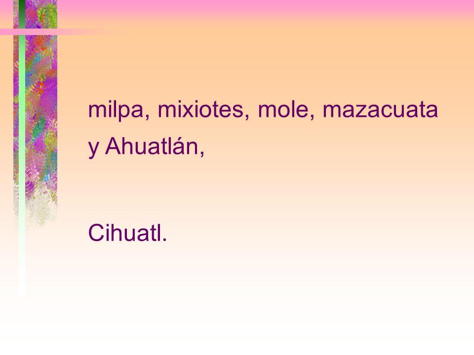 milpa, mixiotes, mole, mazacuata y Ahuatlán,