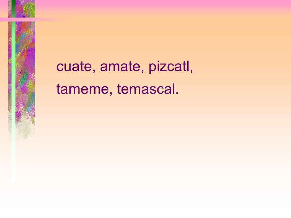 cuate, amate, pizcatl, tameme, temascal.