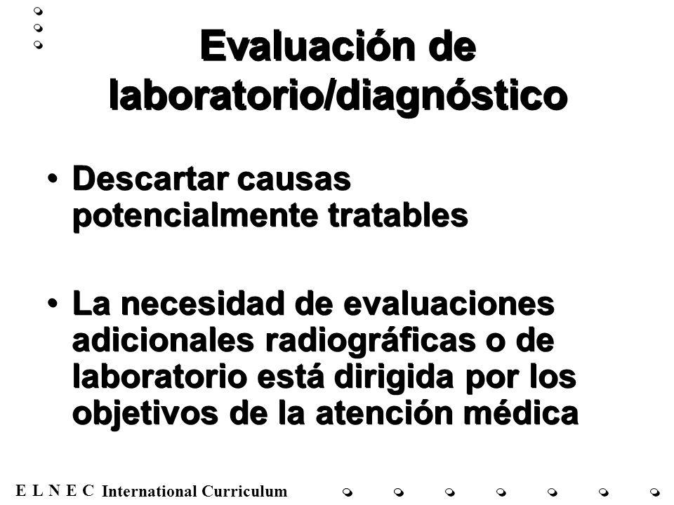 Evaluación de laboratorio/diagnóstico