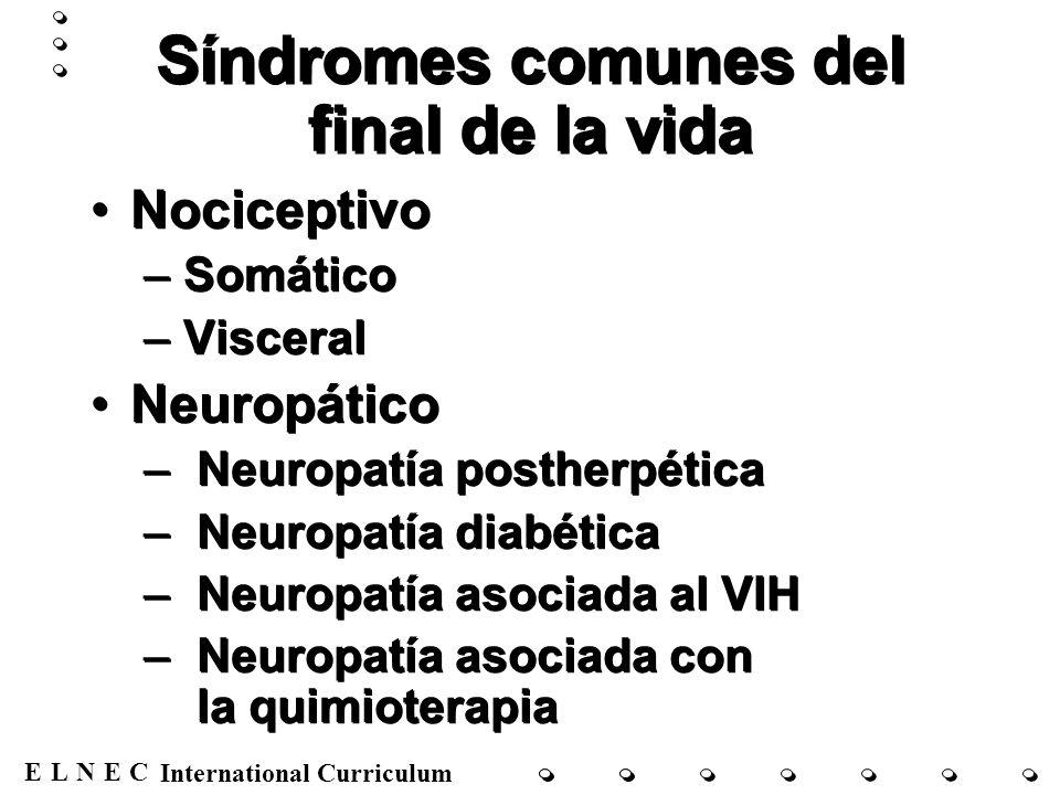 Síndromes comunes del final de la vida