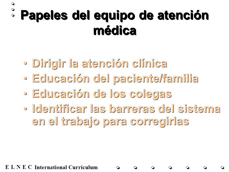 Papeles del equipo de atención médica