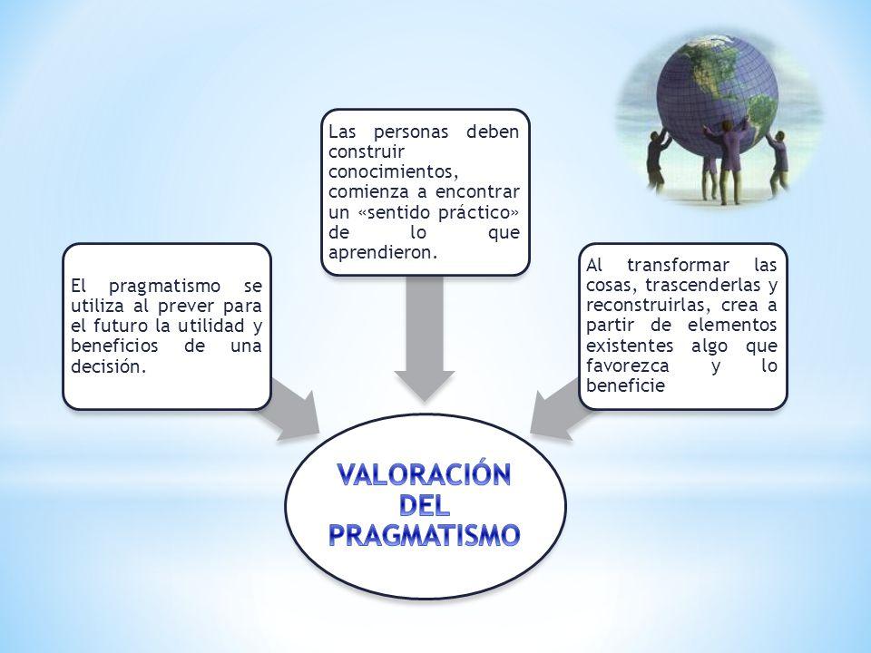 VALORACIÓN DEL PRAGMATISMO