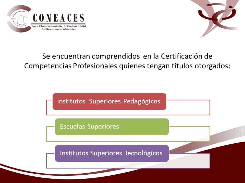 Se encuentran comprendidos en la Certificación de Competencias Profesionales quienes tengan títulos otorgados: