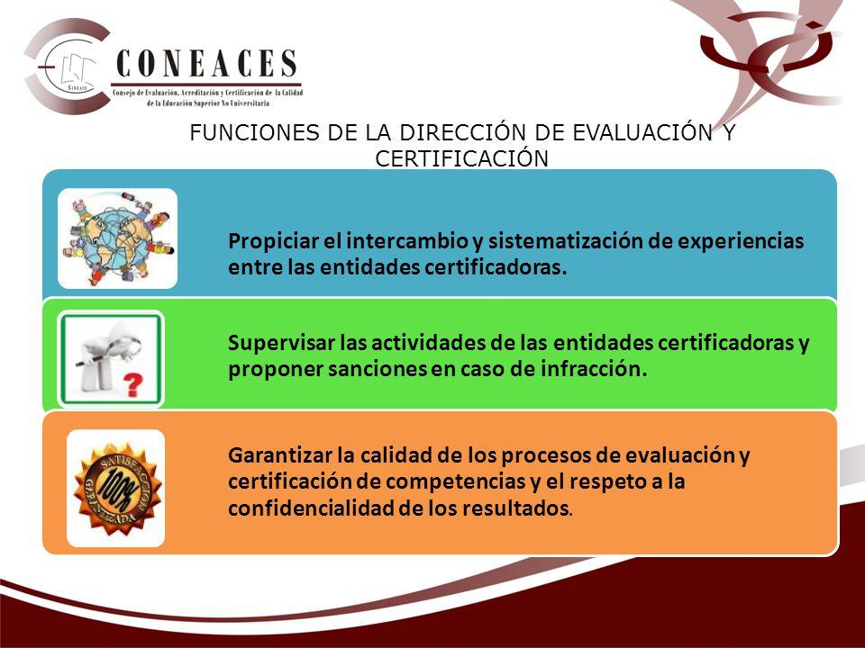 FUNCIONES DE LA DIRECCIÓN DE EVALUACIÓN Y CERTIFICACIÓN