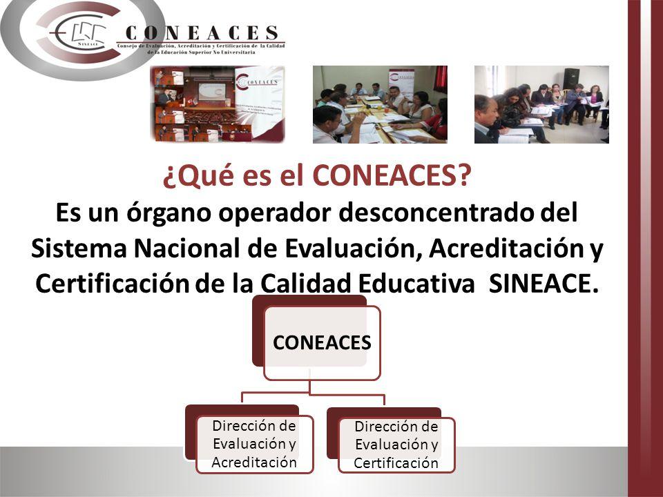 ¿Qué es el CONEACES Es un órgano operador desconcentrado del Sistema Nacional de Evaluación, Acreditación y Certificación de la Calidad Educativa SINEACE.