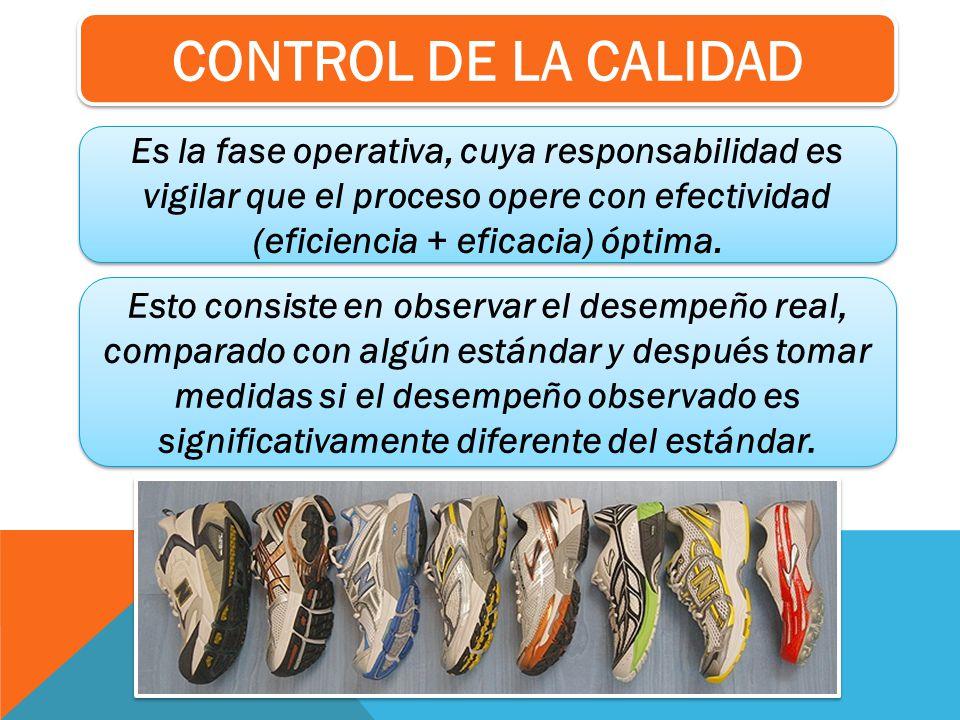 CONTROL DE LA CALIDAD Es la fase operativa, cuya responsabilidad es vigilar que el proceso opere con efectividad (eficiencia + eficacia) óptima.