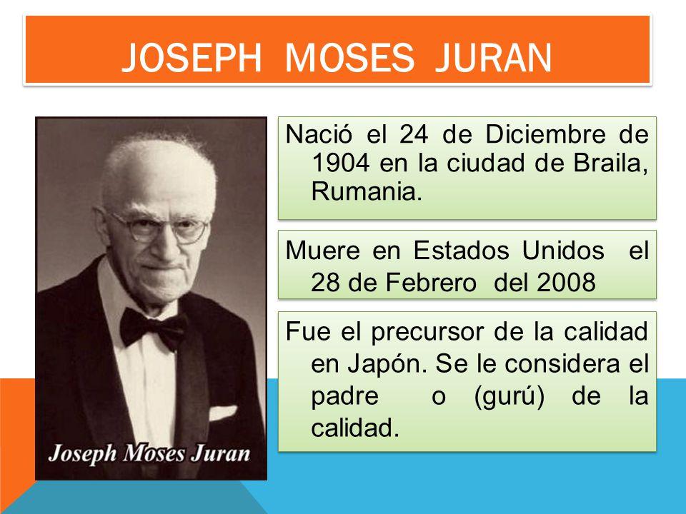 Joseph MOSES Juran Nació el 24 de Diciembre de 1904 en la ciudad de Braila, Rumania. Muere en Estados Unidos el 28 de Febrero del 2008.