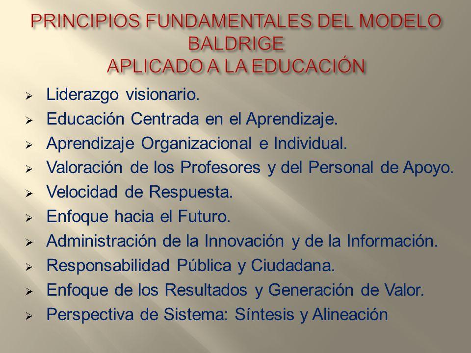 PRINCIPIOS FUNDAMENTALES DEL MODELO BALDRIGE APLICADO A LA EDUCACIÓN