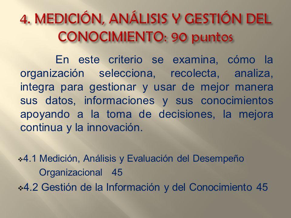 4. MEDICIÓN, ANÁLISIS Y GESTIÓN DEL CONOCIMIENTO: 90 puntos