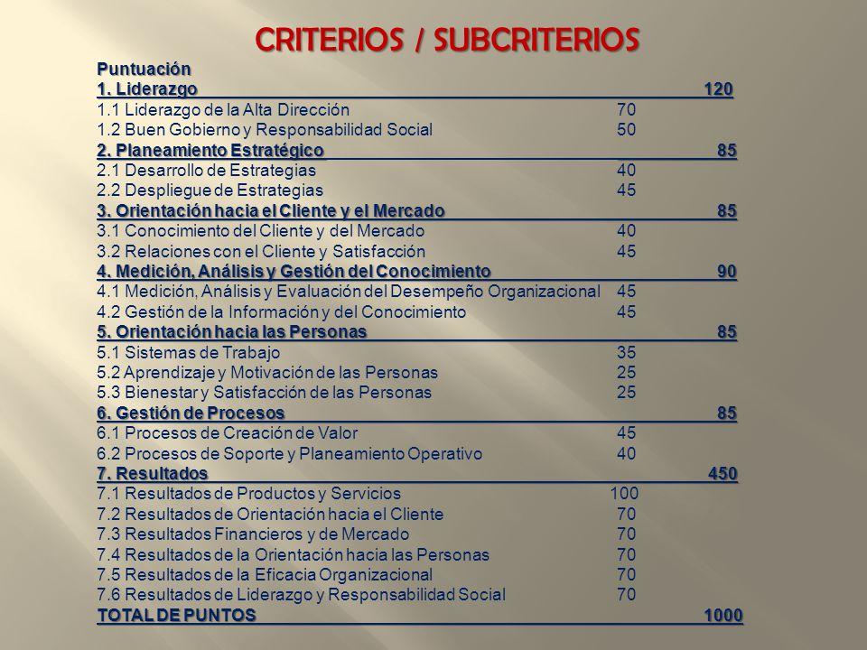 CRITERIOS / SUBCRITERIOS