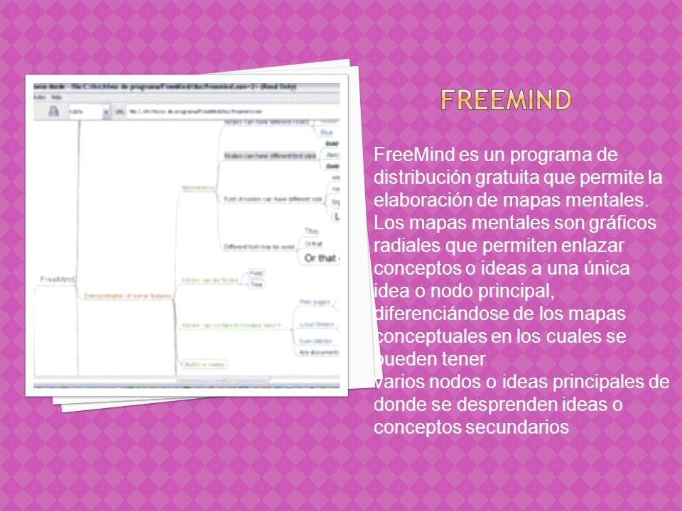 Freemind FreeMind es un programa de distribución gratuita que permite la elaboración de mapas mentales.