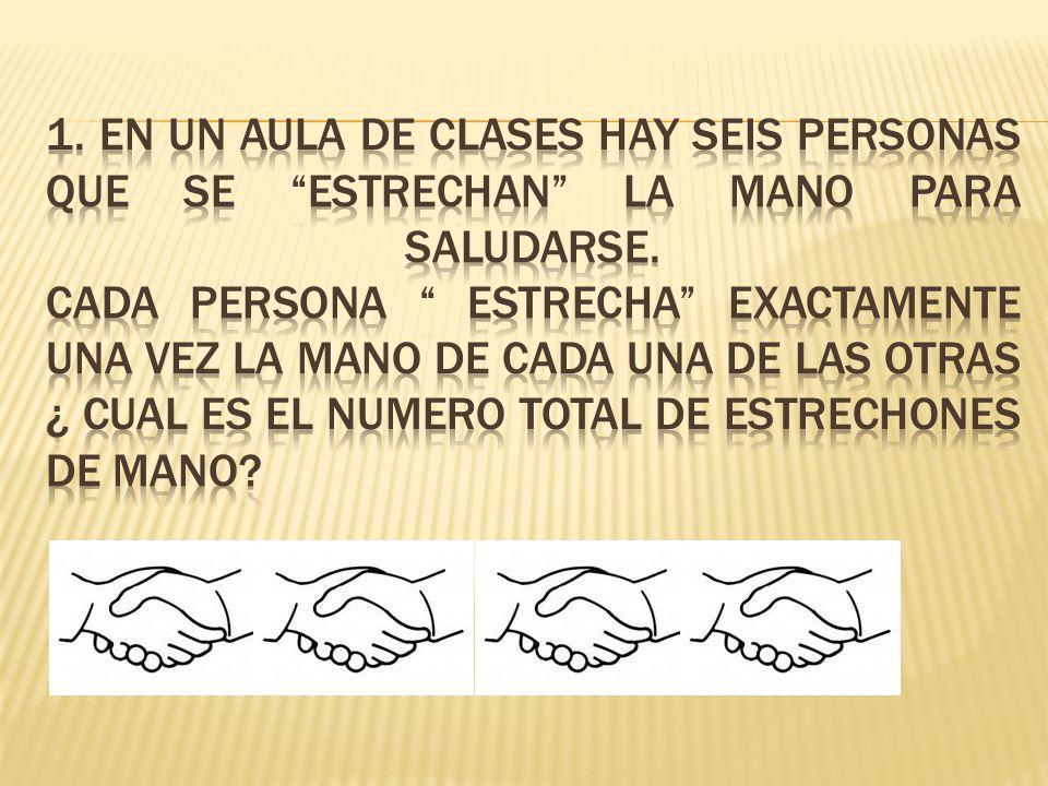 1. En un aula de clases hay seis personas que se estrechan la mano para saludarse.