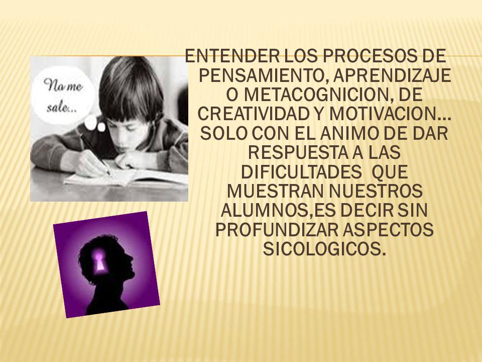 ENTENDER LOS PROCESOS DE PENSAMIENTO, APRENDIZAJE O METACOGNICION, DE CREATIVIDAD Y MOTIVACION...