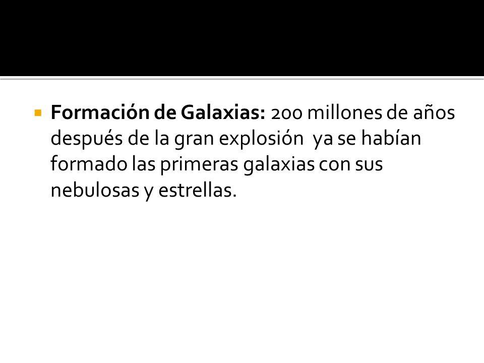 Formación de Galaxias: 200 millones de años después de la gran explosión ya se habían formado las primeras galaxias con sus nebulosas y estrellas.