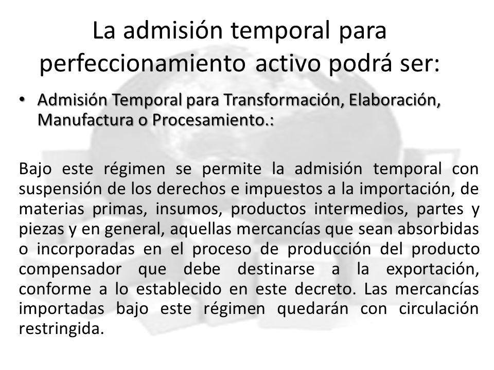 La admisión temporal para perfeccionamiento activo podrá ser: