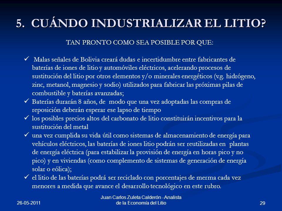 5. CUÁNDO INDUSTRIALIZAR EL LITIO