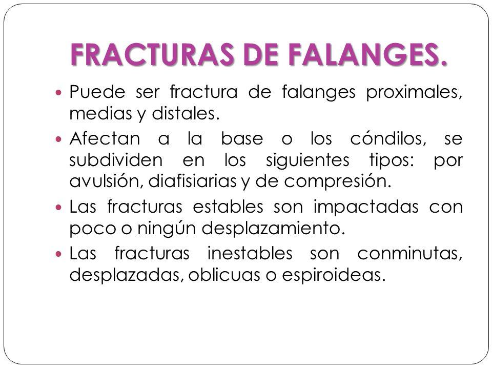 FRACTURAS DE FALANGES. Puede ser fractura de falanges proximales, medias y distales.