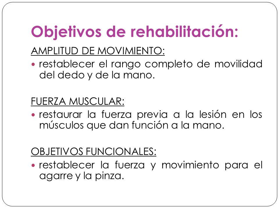 Objetivos de rehabilitación: