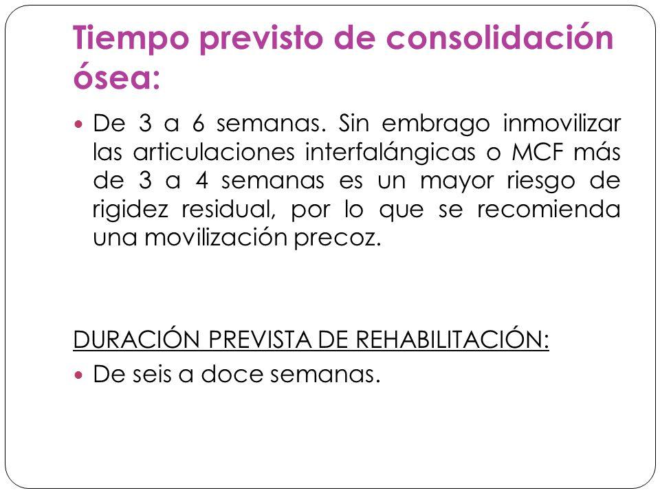 Tiempo previsto de consolidación ósea: