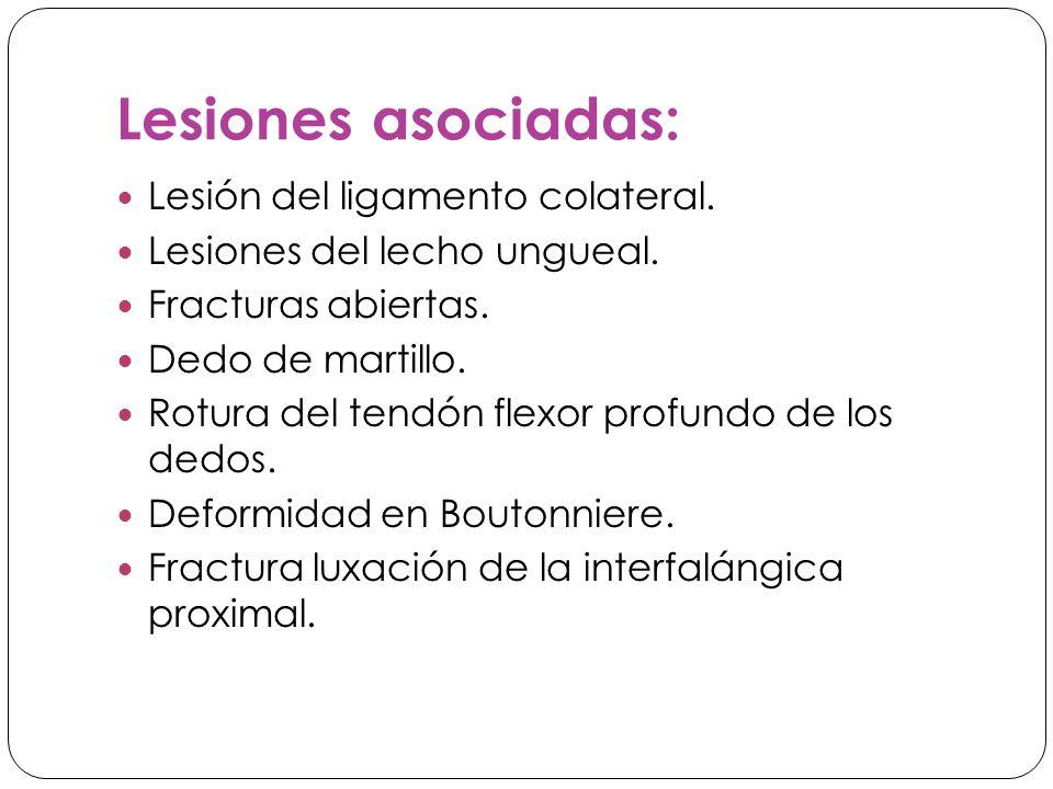 Lesiones asociadas: Lesión del ligamento colateral.