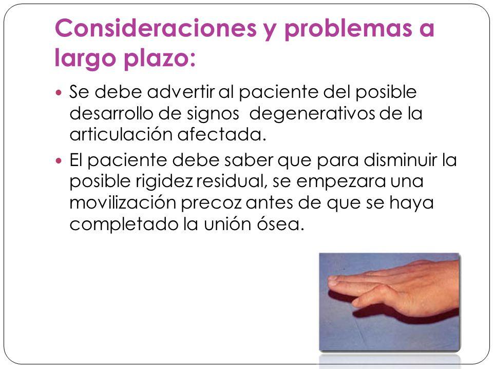Consideraciones y problemas a largo plazo: