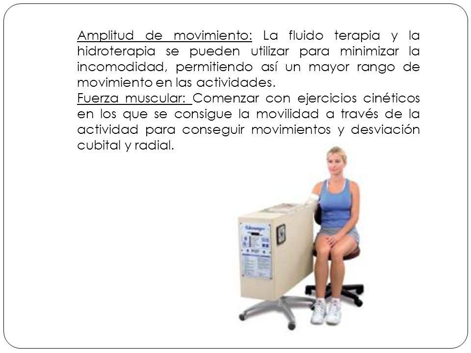 Amplitud de movimiento: La fluido terapia y la hidroterapia se pueden utilizar para minimizar la incomodidad, permitiendo así un mayor rango de movimiento en las actividades.