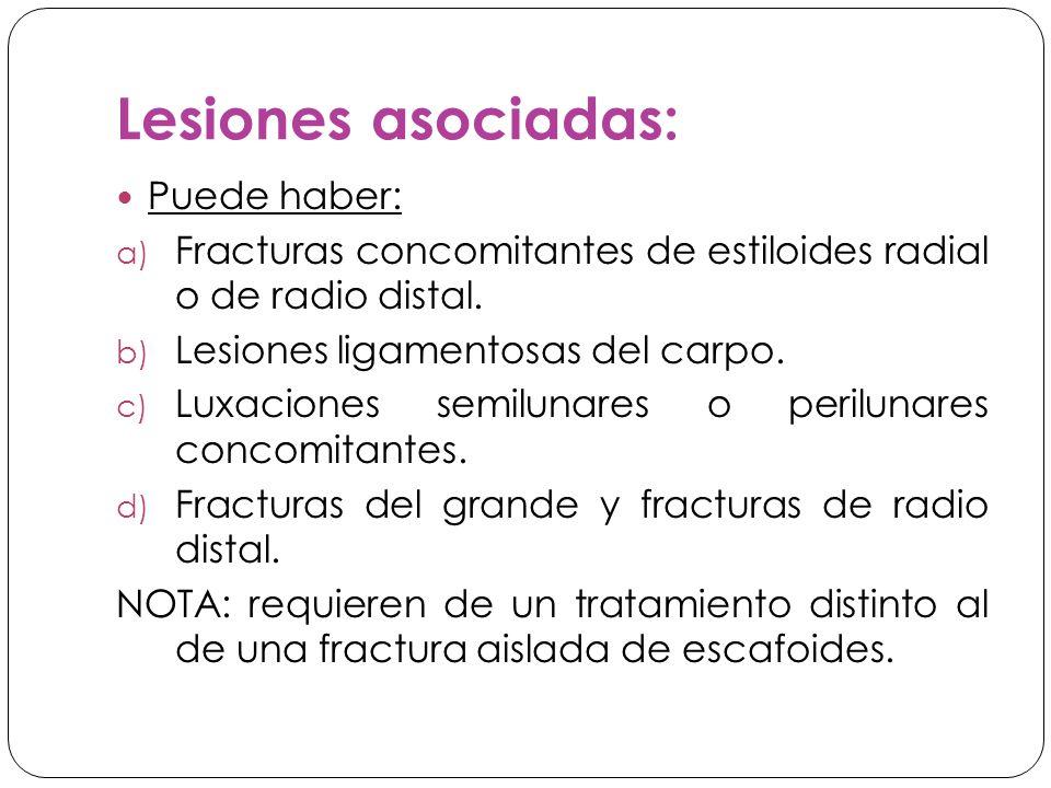 Lesiones asociadas: Puede haber: