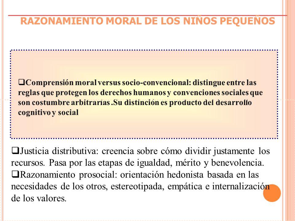 RAZONAMIENTO MORAL DE LOS NIÑOS PEQUEÑOS