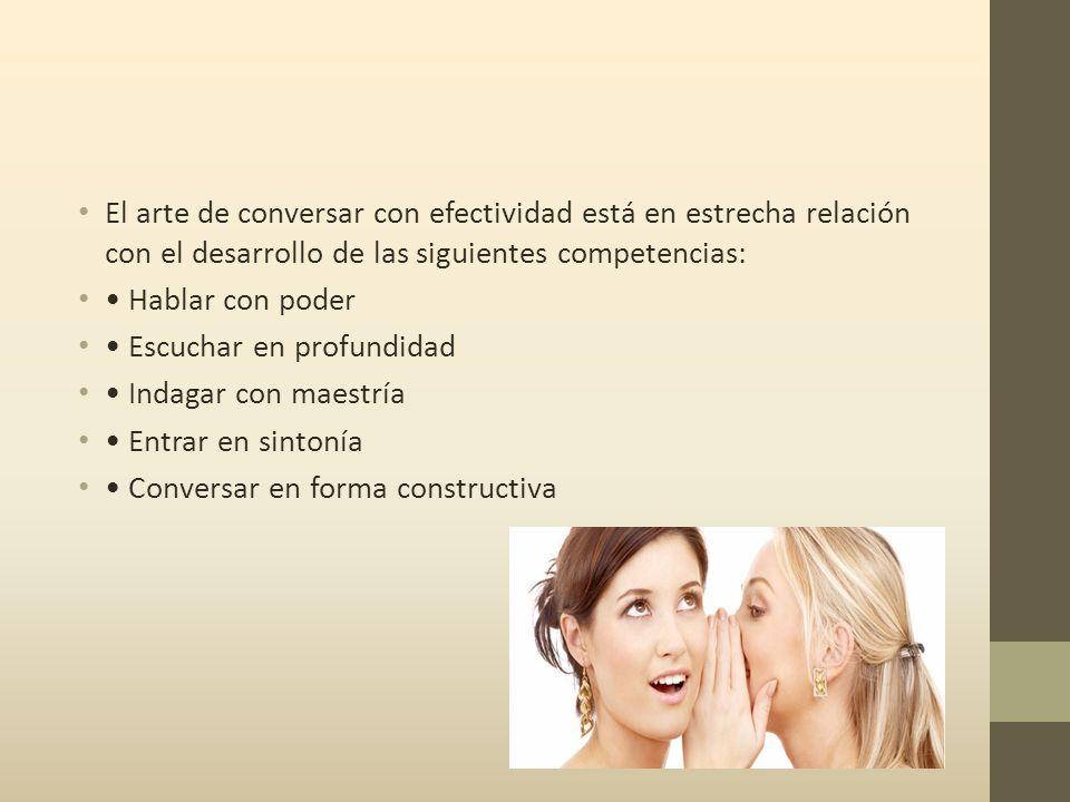 El arte de conversar con efectividad está en estrecha relación con el desarrollo de las siguientes competencias: