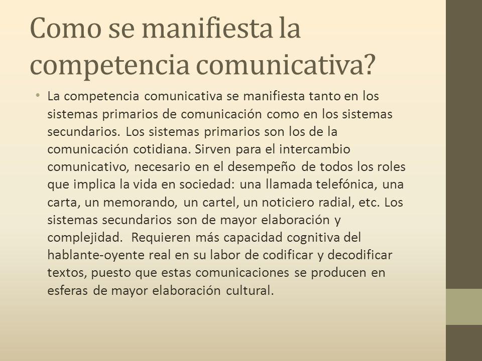 Como se manifiesta la competencia comunicativa