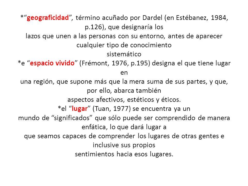 geograficidad , término acuñado por Dardel (en Estébanez, 1984, p