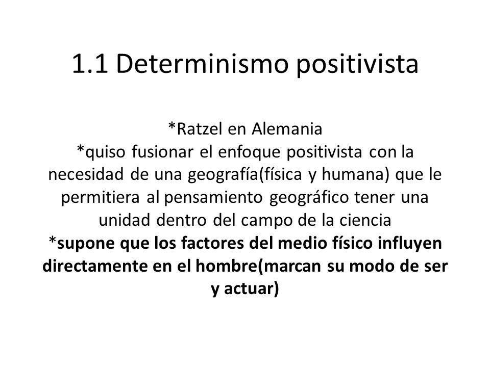 1. 1 Determinismo positivista. Ratzel en Alemania