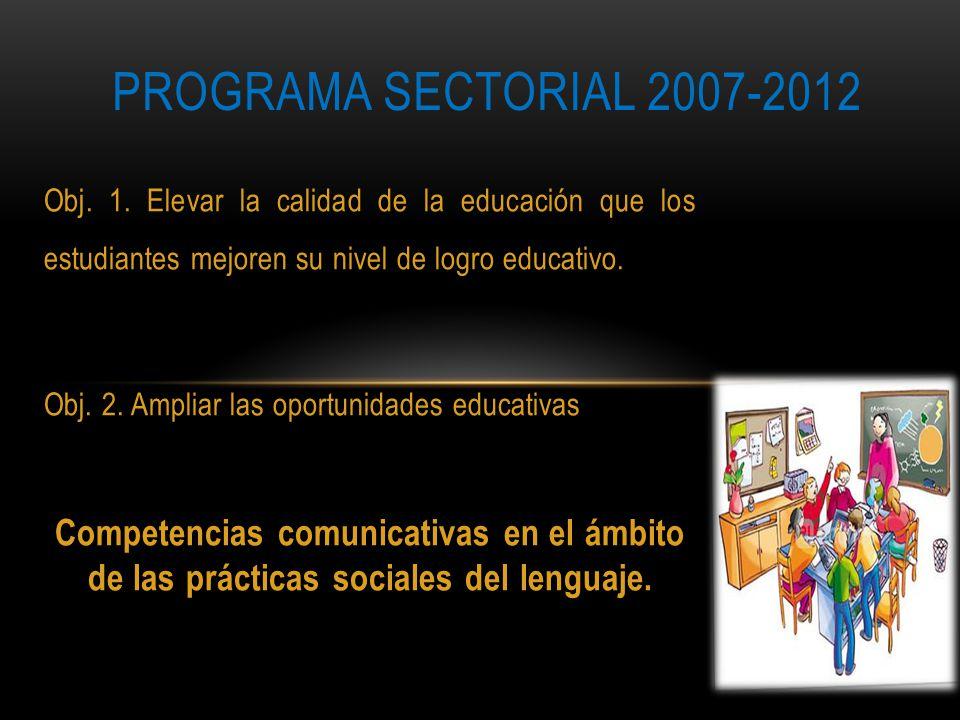 PROGRAMA SECTORIAL 2007-2012 Obj. 1. Elevar la calidad de la educación que los estudiantes mejoren su nivel de logro educativo.