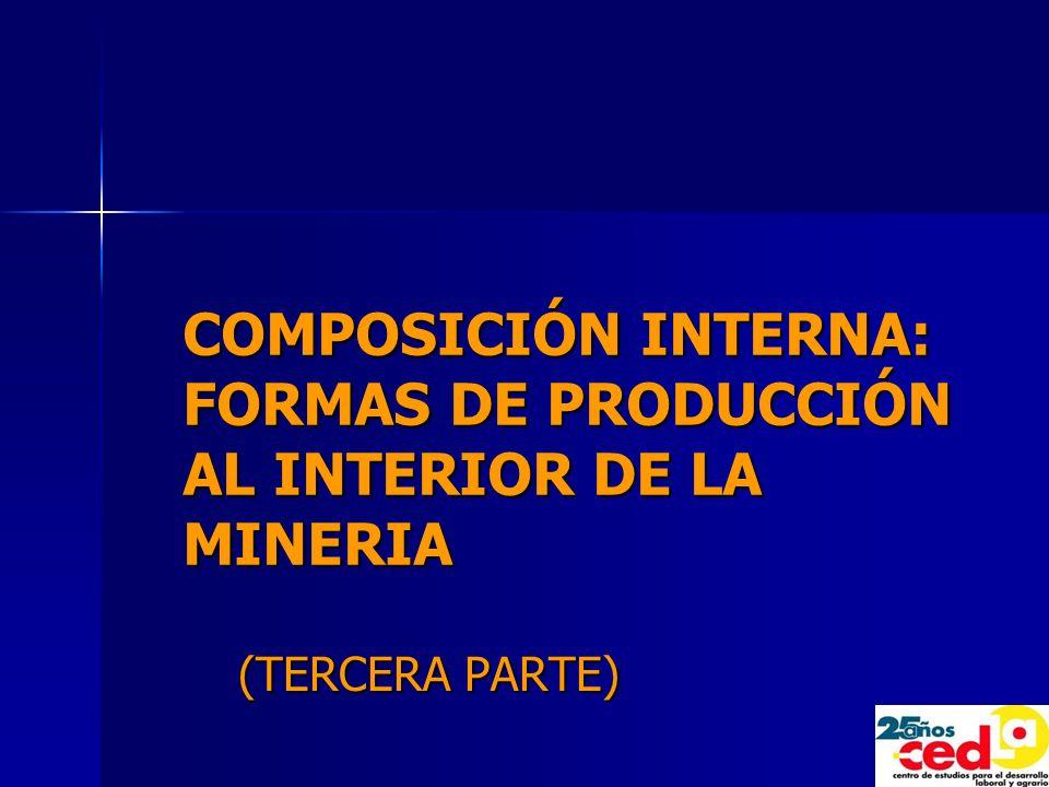 COMPOSICIÓN INTERNA: FORMAS DE PRODUCCIÓN AL INTERIOR DE LA MINERIA