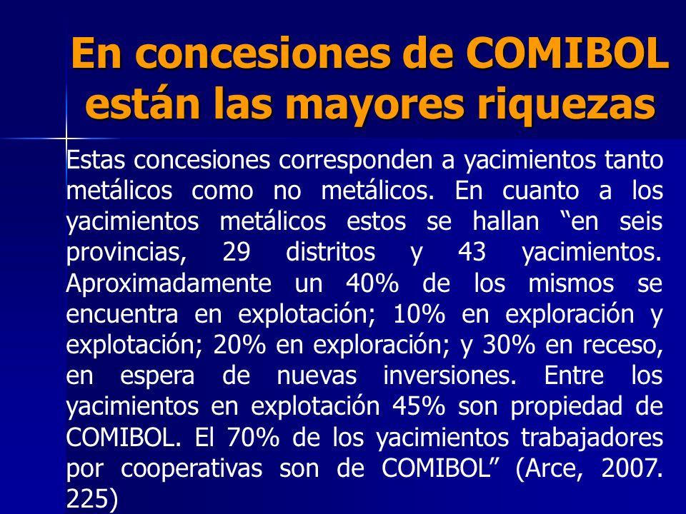 En concesiones de COMIBOL están las mayores riquezas