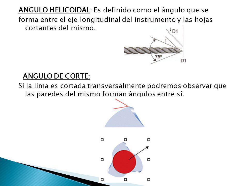 ANGULO HELICOIDAL: Es definido como el ángulo que se