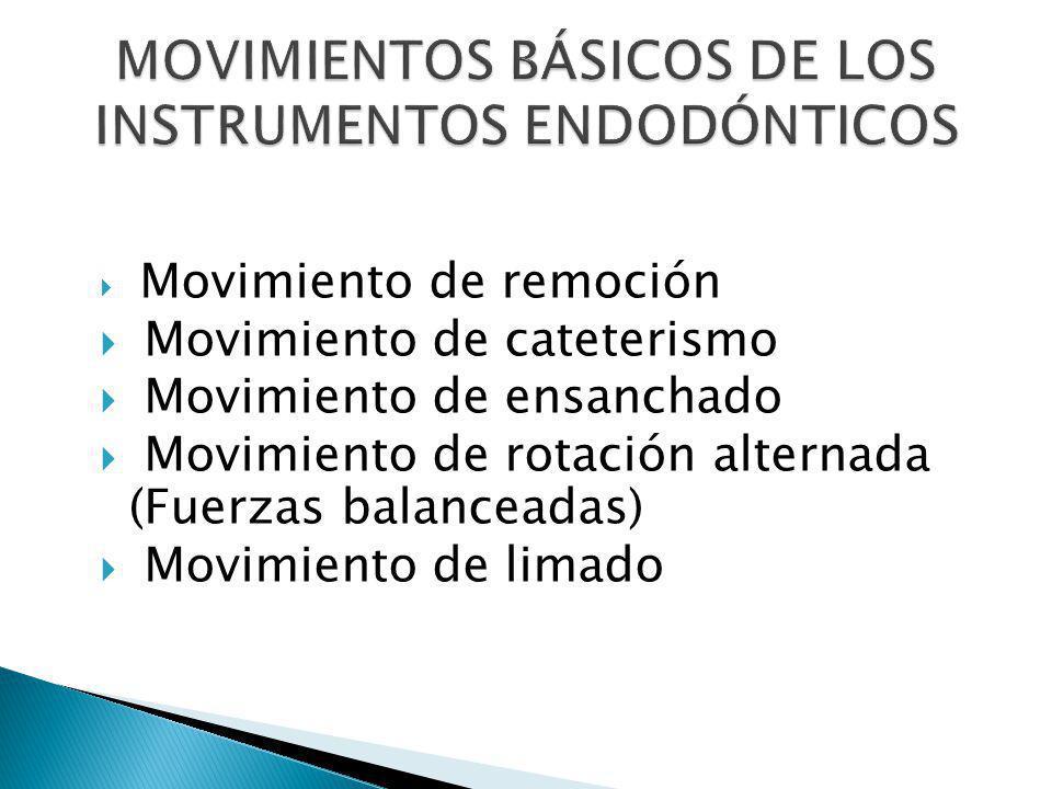 MOVIMIENTOS BÁSICOS DE LOS INSTRUMENTOS ENDODÓNTICOS