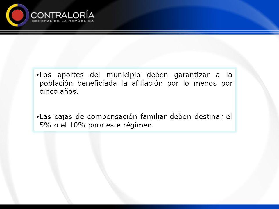 Los aportes del municipio deben garantizar a la población beneficiada la afiliación por lo menos por cinco años.