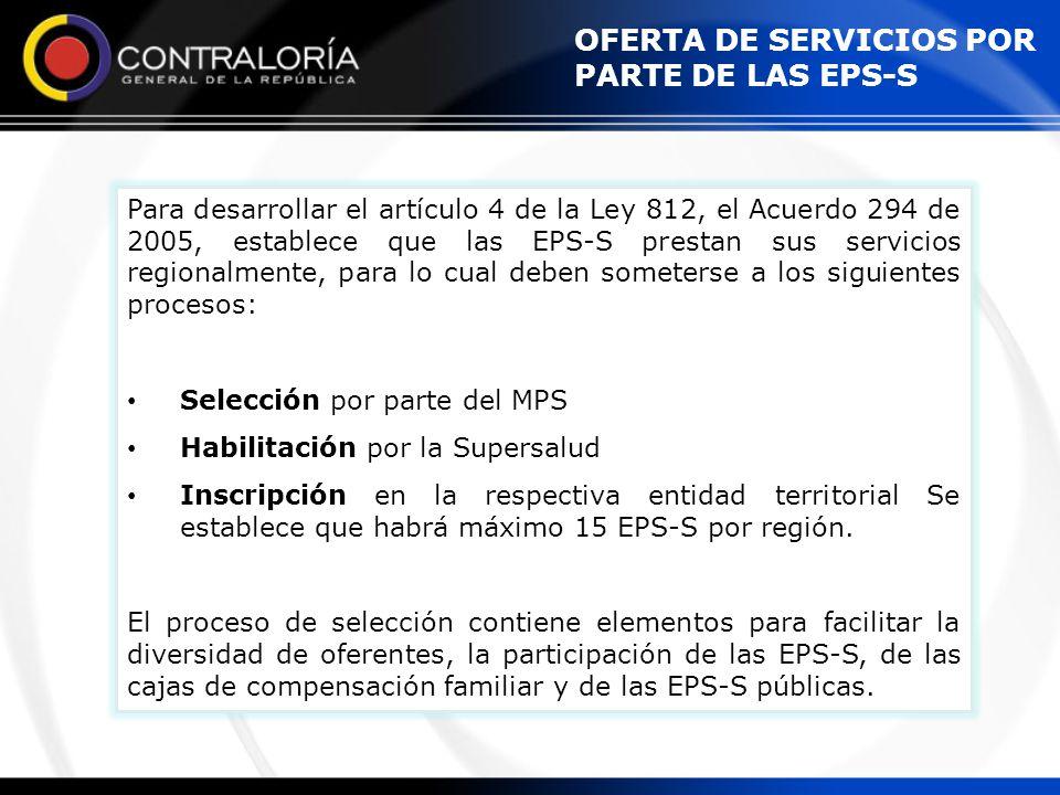 OFERTA DE SERVICIOS POR PARTE DE LAS EPS-S