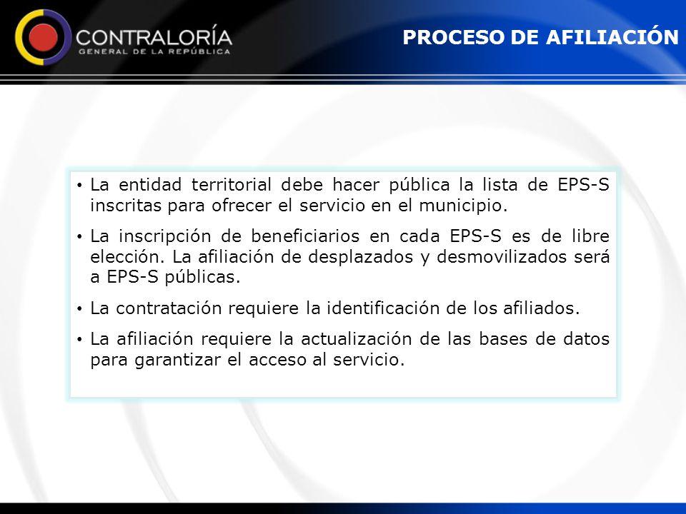 PROCESO DE AFILIACIÓN La entidad territorial debe hacer pública la lista de EPS-S inscritas para ofrecer el servicio en el municipio.