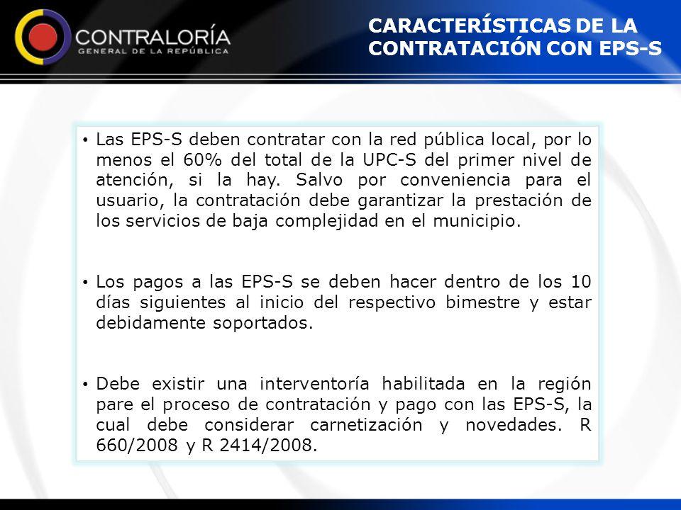 CARACTERÍSTICAS DE LA CONTRATACIÓN CON EPS-S