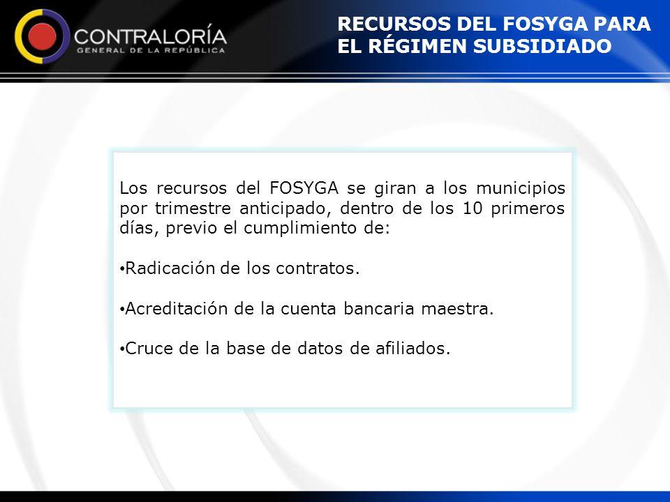 RECURSOS DEL FOSYGA PARA EL RÉGIMEN SUBSIDIADO