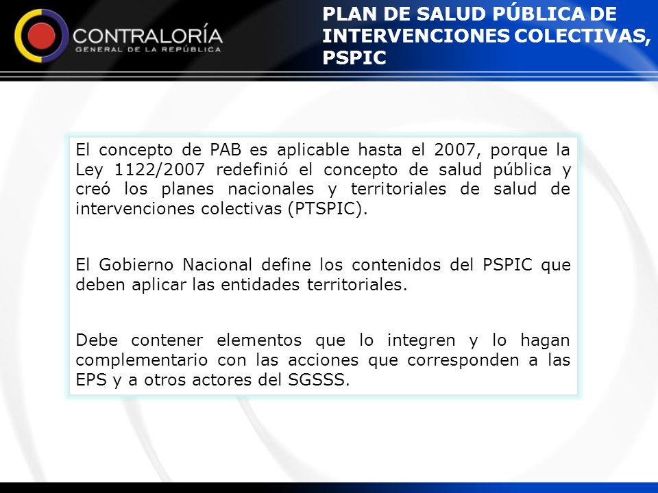 PLAN DE SALUD PÚBLICA DE INTERVENCIONES COLECTIVAS, PSPIC